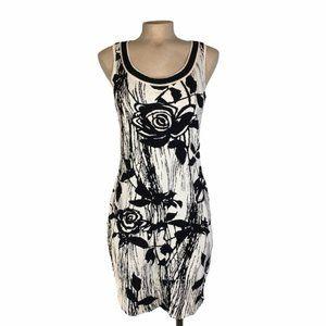 ST. JOHN Black & White Floral Bodycon Wool Dress 8